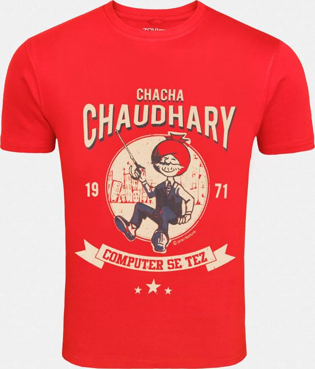 Zovi Bright Red Cotton Printed T Shirt