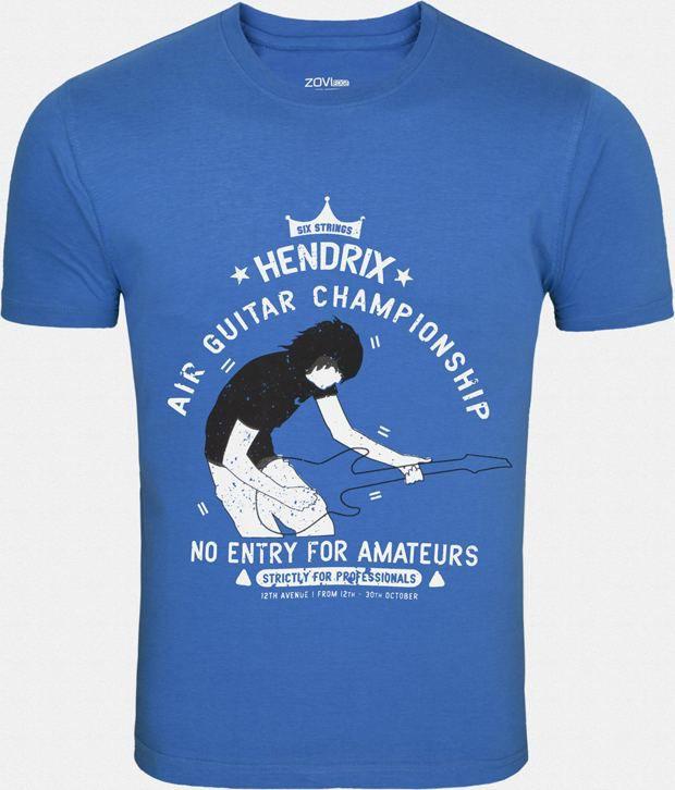 Zovi Elegant Blue Printed T Shirt For Men