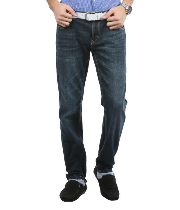 Blumerq Casual Dark Blue Tint Faded Jeans