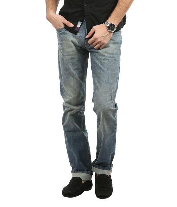 Blumerq Tinted Blue Faded Jeans