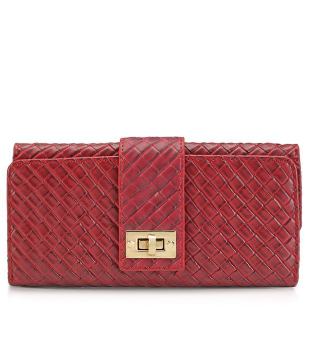 Lino Perros Stylish Maroon Textured Women Wallet
