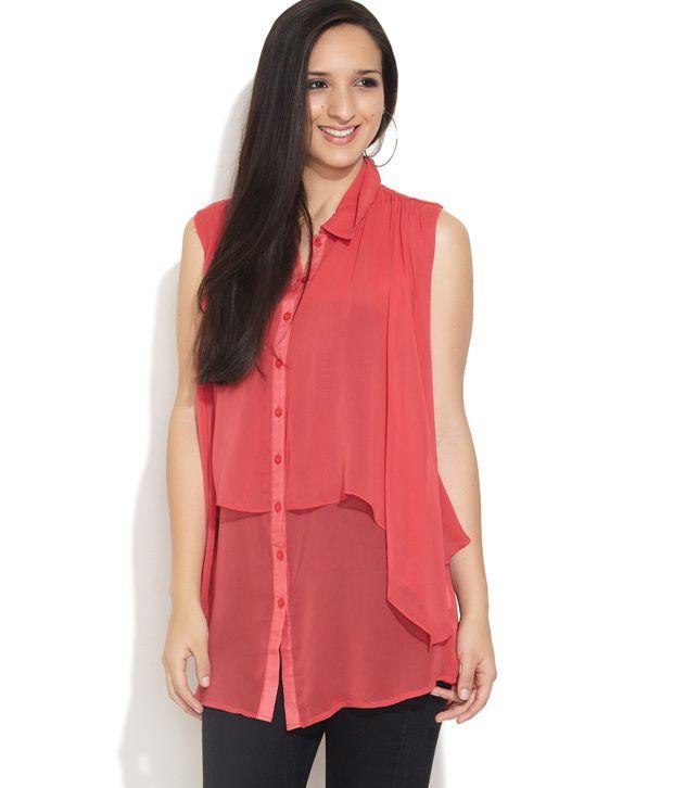 Remanika Pink Solids Polyester Shirt