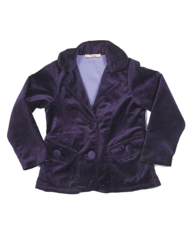 Riya N Zoe Full Sleeve Velvet Violet Coat For Kids