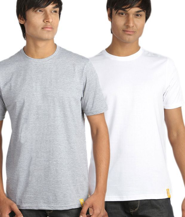 Campus Sutra Chic White And Light Gray Pack Of 2 T-Shirts