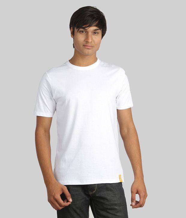 Campus Sutra Classic White Plain T-Shirt
