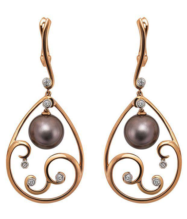 VIDEE Real Diamond & Pearl Silver Earring
