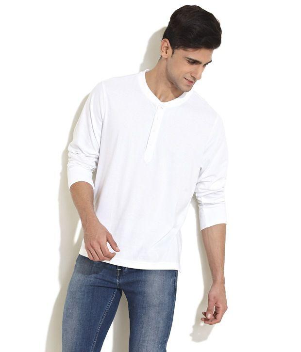 f6cc647978cc Freecultr White Henley T Shirt - Buy Freecultr White Henley T Shirt Online  at Low Price - Snapdeal.com