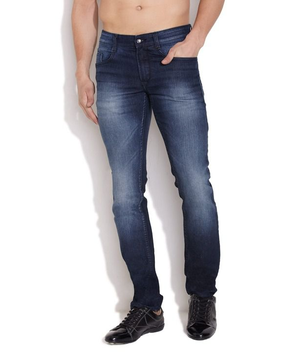 John Players Blue Trendy Faded Jeans