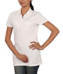 Puma White Solid Cotton Polo T-Shirt