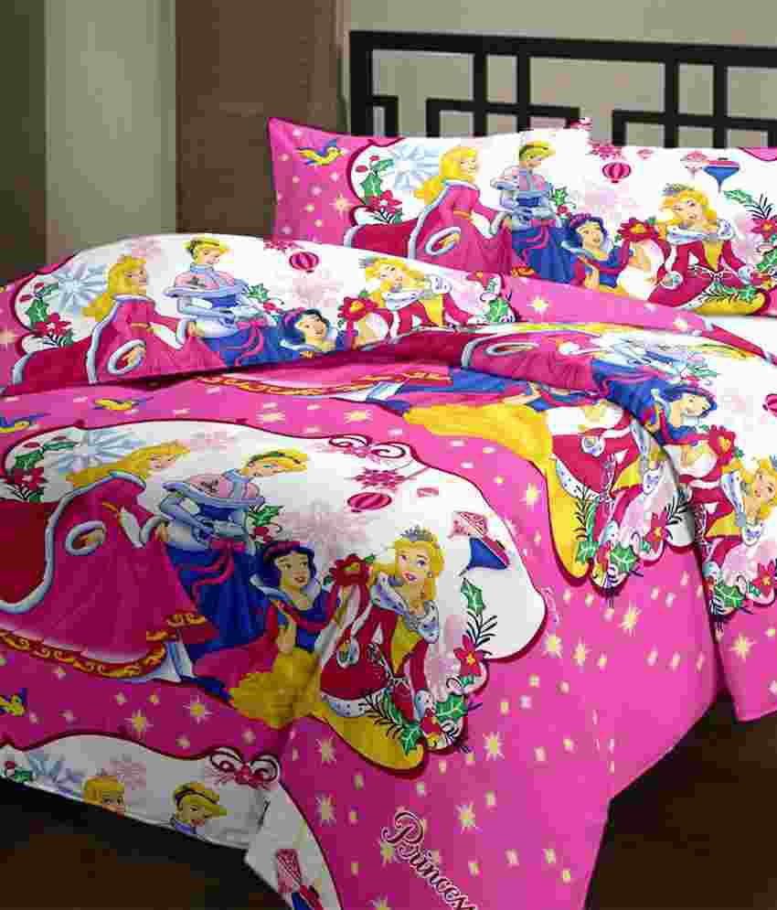 Bed sheets with price - Cartoon Prints Princess Double Bed Sheet Set With 2 Blankets 220 Tc
