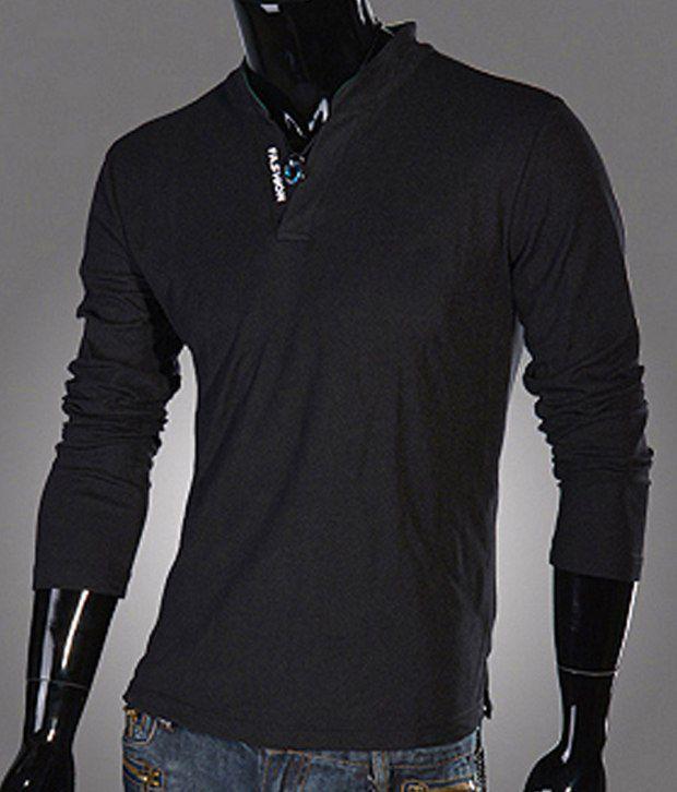 4bbbe4f1 ... Fashion Street Black Full Sleeves Men Collared T shirt Buy