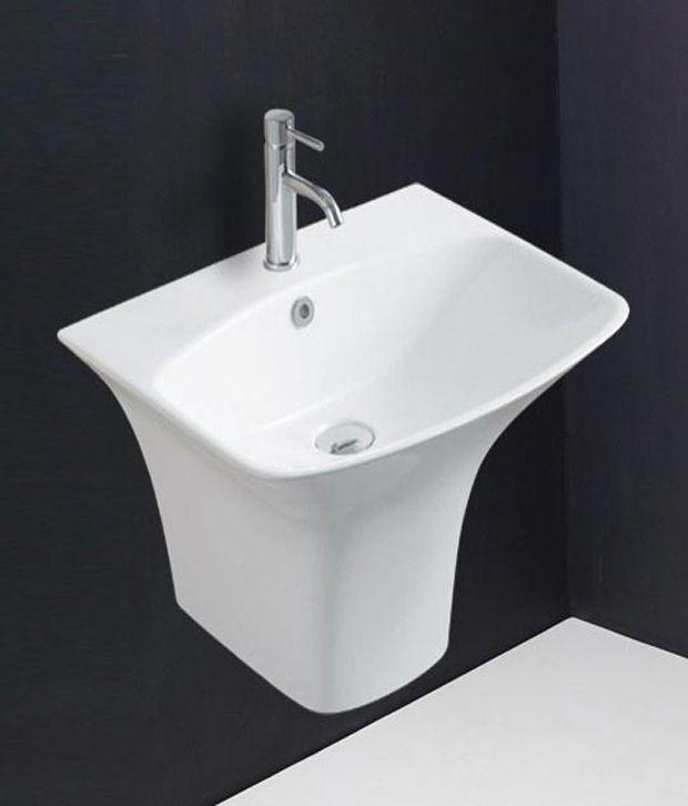Hindware Pedestal Basin Berlin With Semi Pedestal (White) - 91075