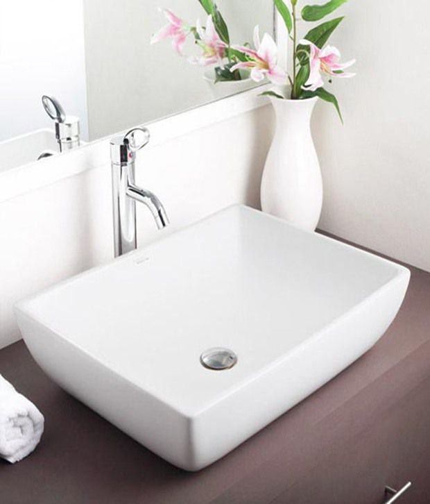 Buy hindware table top basin fonte ivory 91043i online for Wash basin mirror price