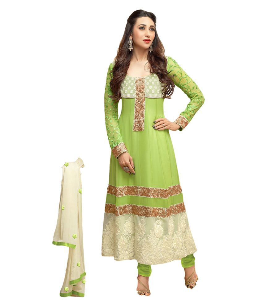 Pinkshink Party Wear Green And White Long Anarkali Dress Material
