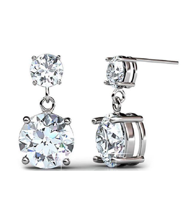 ziveg 92.5 sterling silver Contemporary earring made with swarovski gems