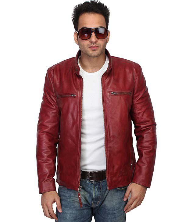 Bareskin Red Leather Biker Jacket For Men - Buy Bareskin Red ...