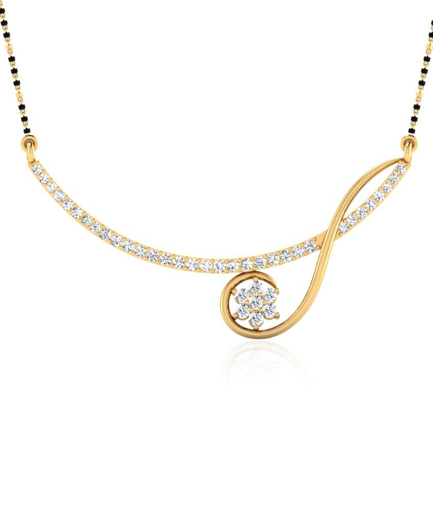 Forever Carat Real Diamond Bloom Mangalsutra in 100% Certified 14kt Gold