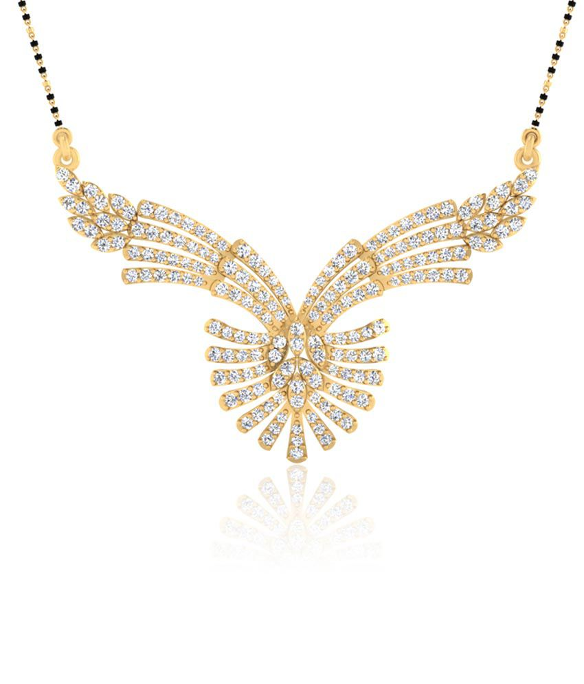 Forever Carat Real Diamond Cellina Mangalsutra in 100% Certified 14kt Gold