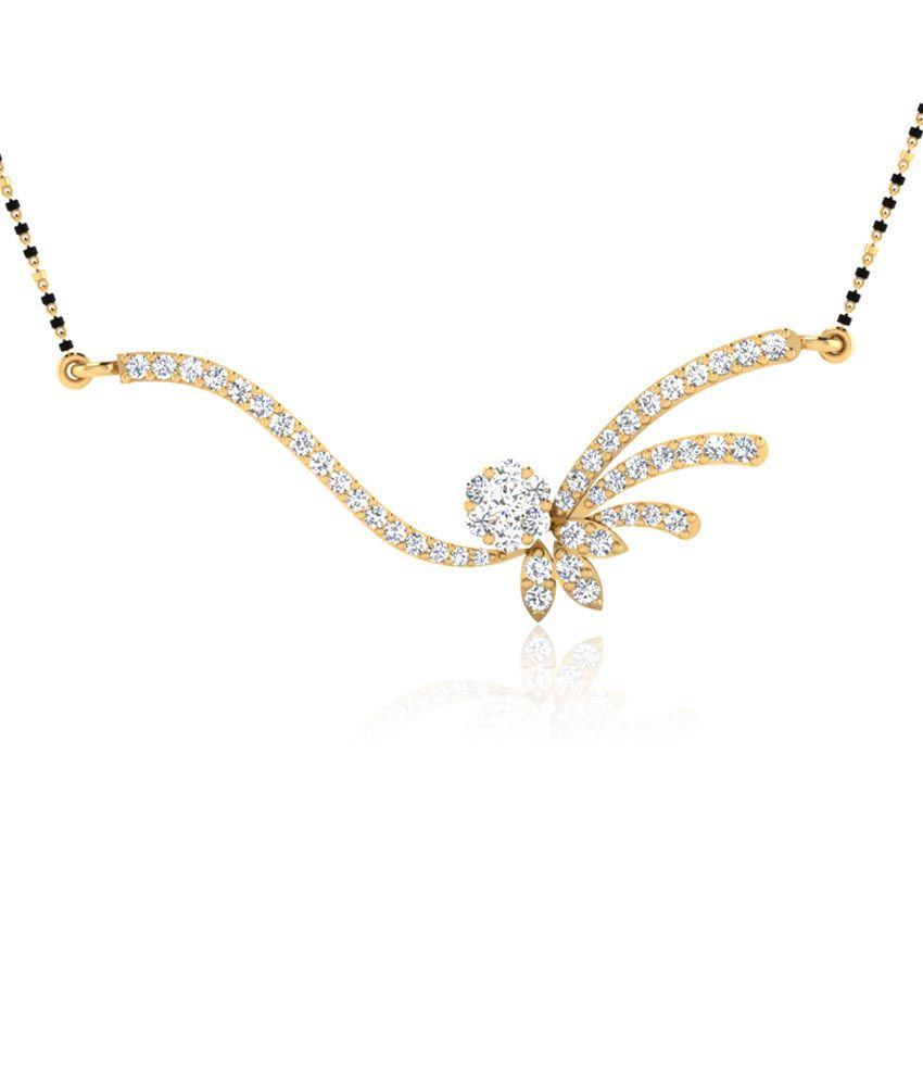 Forever Carat Real Diamond Moonlight Mangalsutra in 100% Certified 14kt Gold