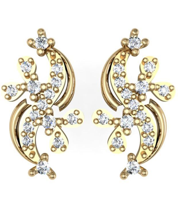 Exquisite Saanvi Diamond  Earring 0.18cts of best quality  diamonds studded in 18kt Gold