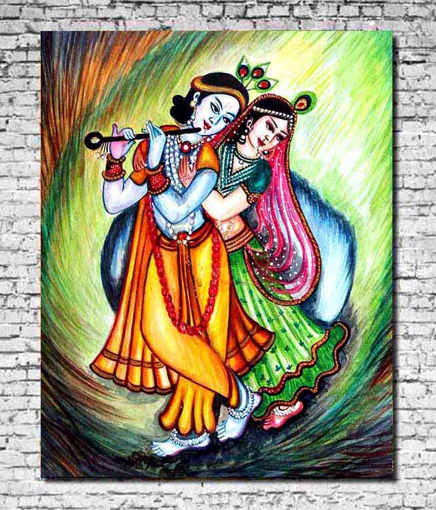 radha krishna painting in bedroom