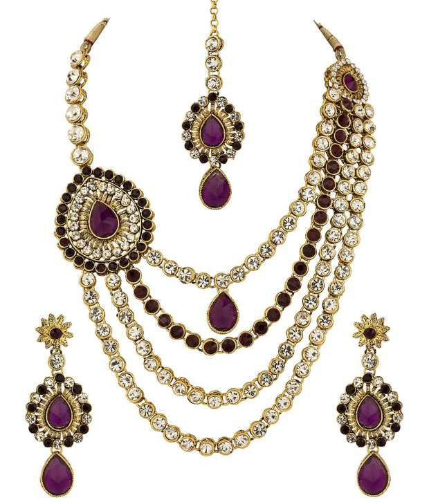 Voylla Tear Drop Pendant Gold Plated Mang Tikka Set Encrusted With Cz; Purple Crystals