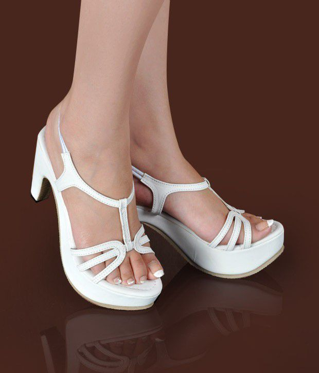 Butterfly Beautiful White Heel Sandals