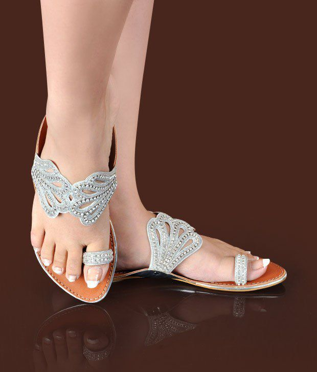 Butterfly Ethnic Silver Flat Slippers