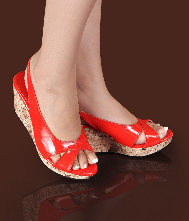 Butterfly Smart Red Wedge Heel Sandals