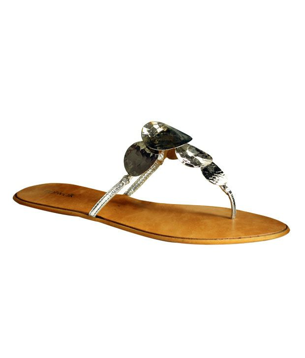 Catwalk Silver Flat Slip-on Sandals