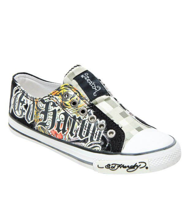 Ed Hardy Black Tiger Tattoo Canvas Shoes