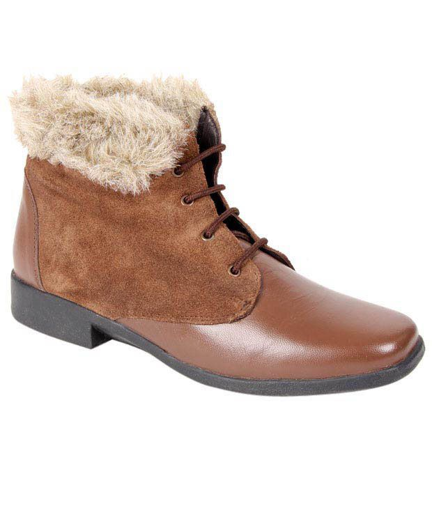 Euro Star Fashionable Brown High Ankle Length Boots
