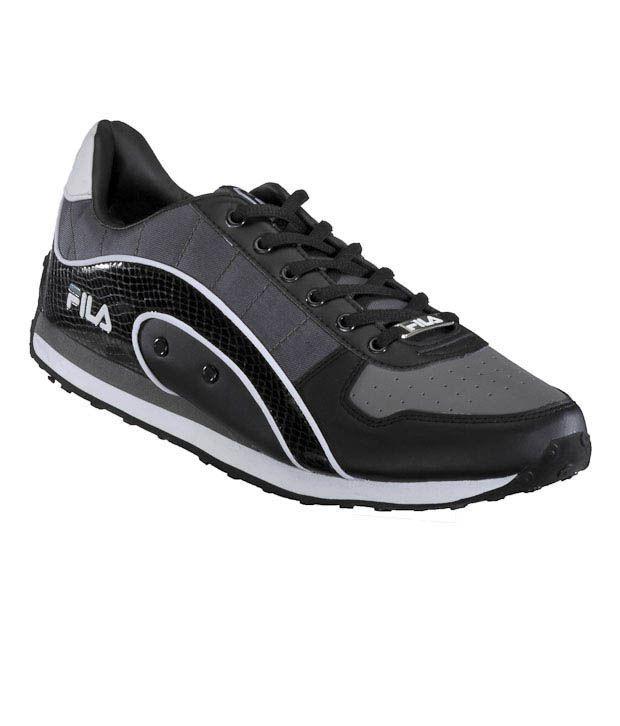 Fila Comfortable Black-Grey Casual Lace Shoes