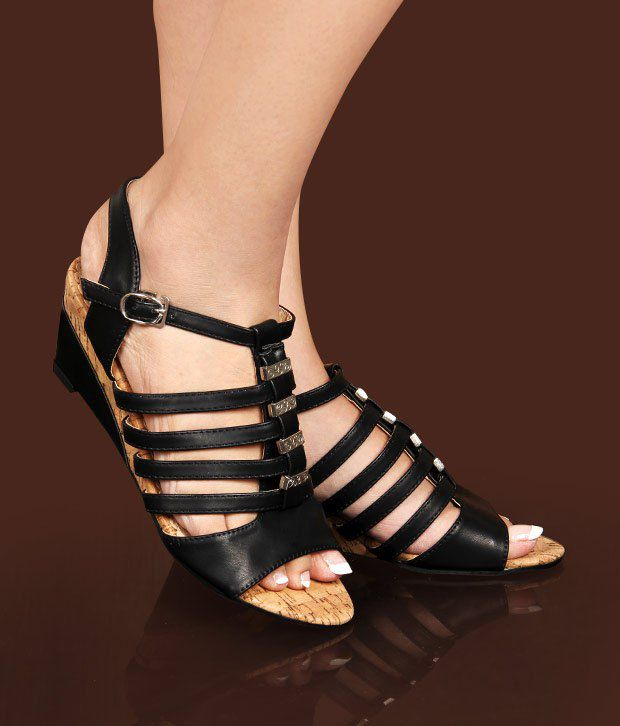 Hi-Fashion Black Wedge Heel Gladiator Sandals