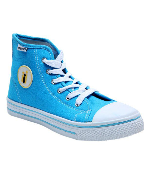 Imprints Soothing Blue High Ankle Canvas Shoes
