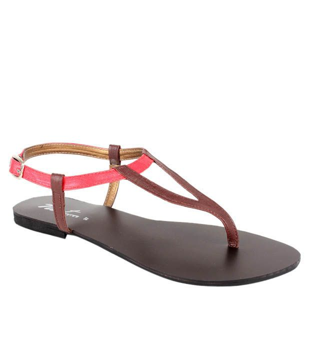 Neat Brown & Red Sandals
