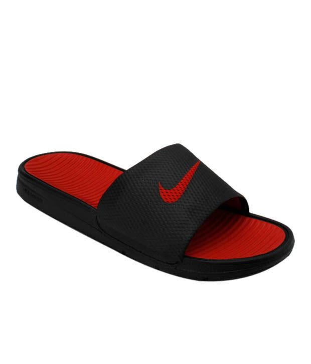 Nike Benassi Solar Soft Slide Black & Red Slippers