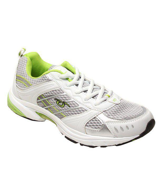 Prozone White & Light Green Sports Shoes