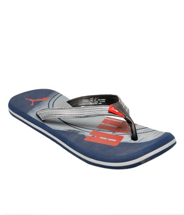 Puma Jive Navy Blue & Grey Slippers