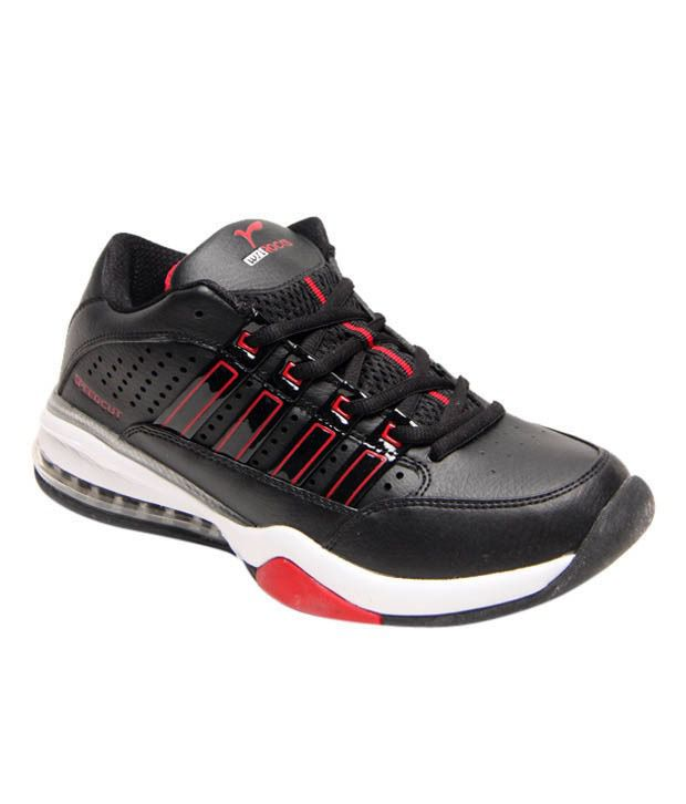 Rocks Dynamic Black & Red Sports Shoes