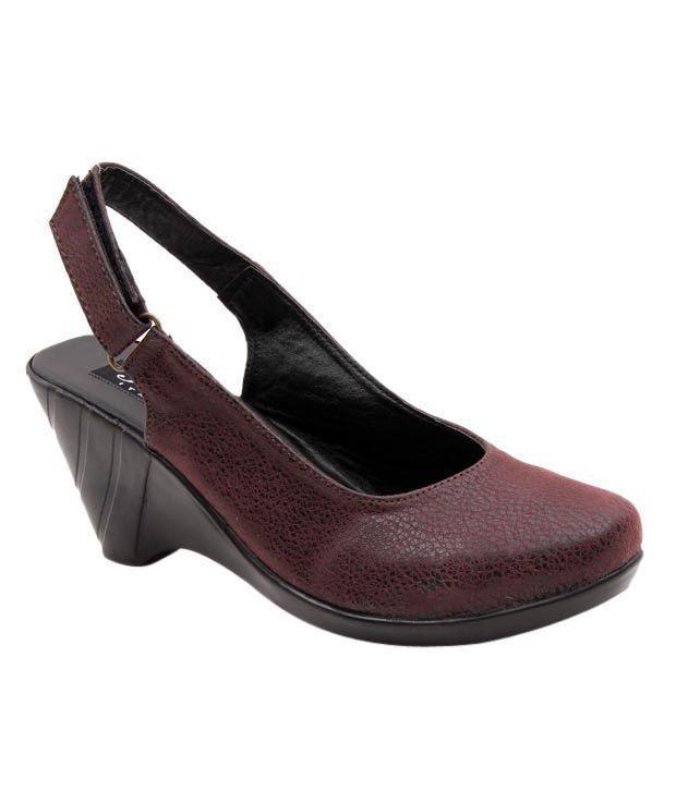 Sleek Maroon Wedge Heel Sandals