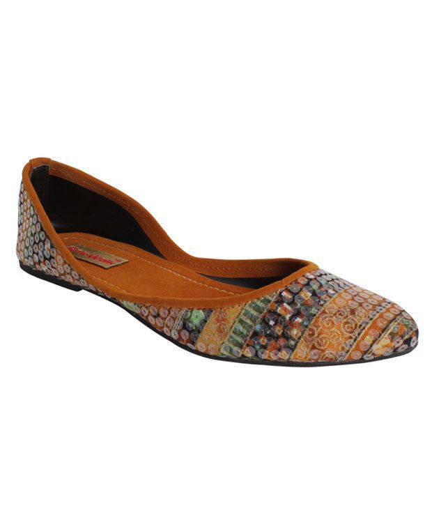 Stylewalk Brown Tranquil Sequined Ballerinas