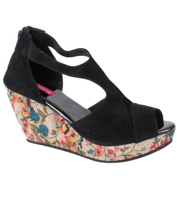 Butterfly Black Floral Wedge Heel Sandals