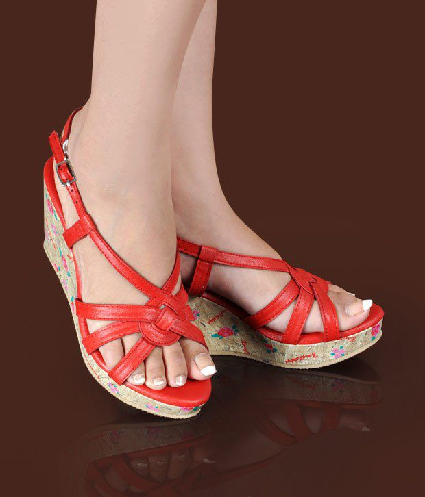 Butterfly Imposing Red Wedge Heel Sandals