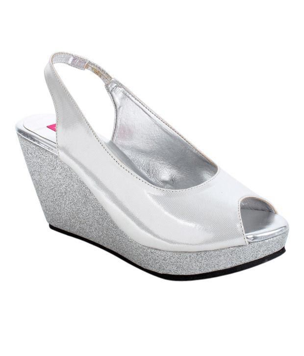 Butterfly Silver Shimmered Wedge Heel Sandals