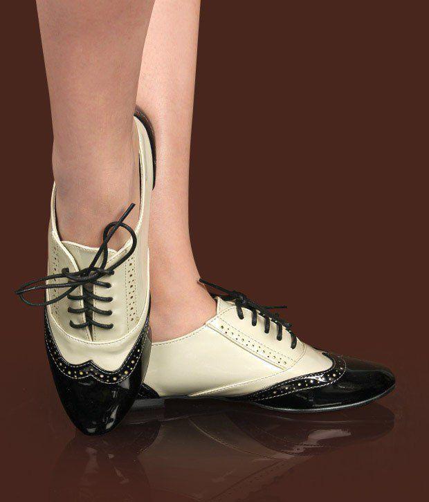 Catwalk Beige & Black Oxford Shoes