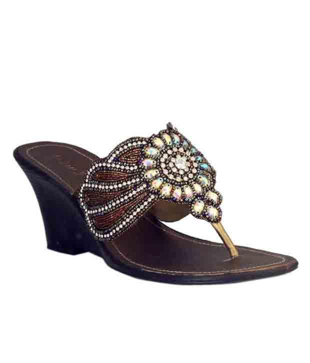 Catwalk Bronze Slip-on Wedge Heels