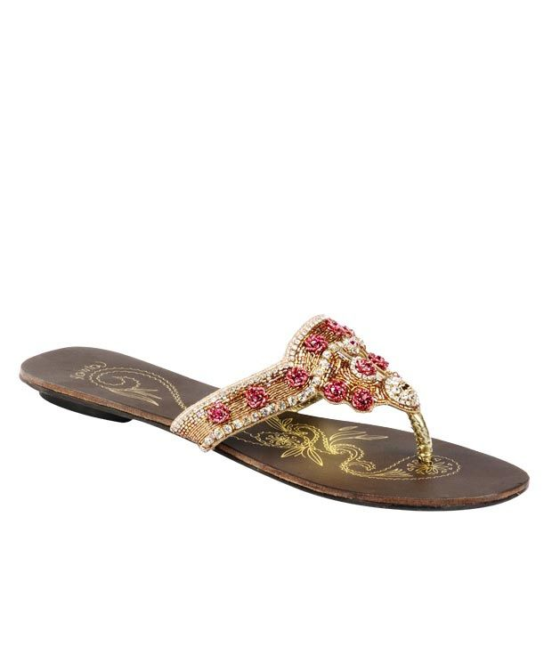Catwalk Golden & Pink Slip-on Slippers
