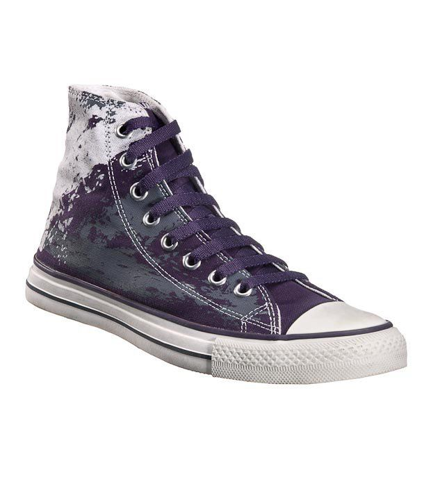 Converse Purple Abstract Unisex High Ankle Sneakers