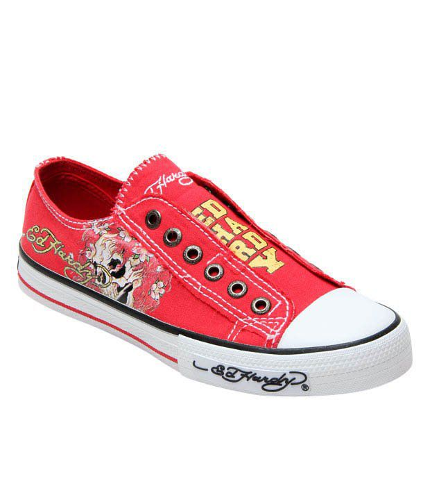 Ed Hardy Red Skull Tattoo Canvas Shoes